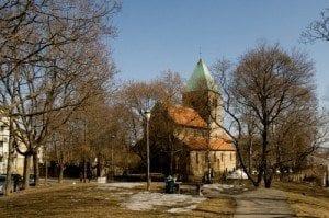 Påskegudstjenester i Oslo i påsken. Her Gamle Aker Kirke
