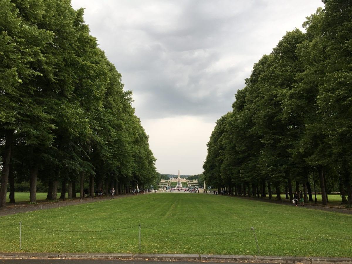 Grønt gress og grønne tærer i retning mot Monolitten i Vigelandsparken
