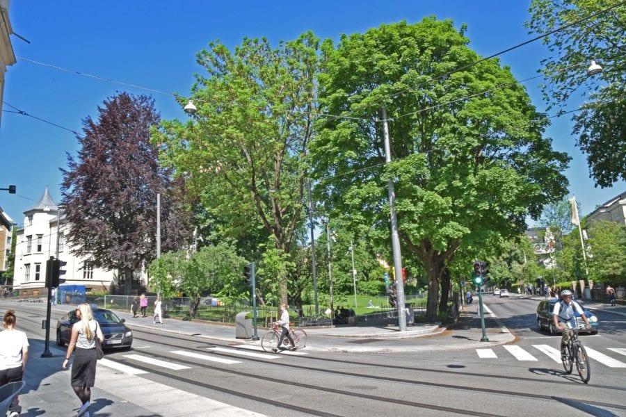 Josefines park sett fra porten i gatekrysset