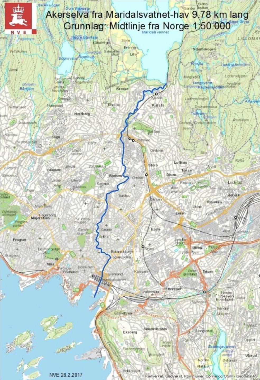 Kartbilde av Akerselva fra Maridalsvannet til Bjørvika