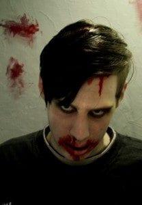 Vincent sminket som en Zombie.