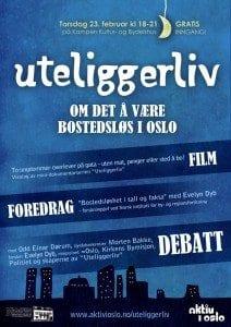 Uteliggerliv: film, foredrag og debatt - plakat