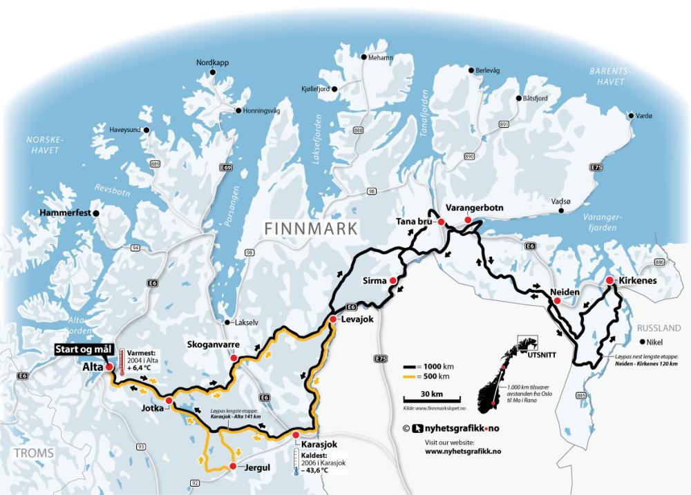 Finnmarksløpet - kart over Finnmarksløpet