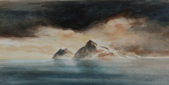 Landet på styrbord side. Akvarell 2011