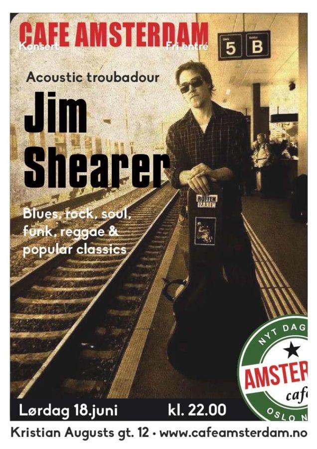 Troubadour Jim Shearer på Cafe Amsterdam hovedbilde