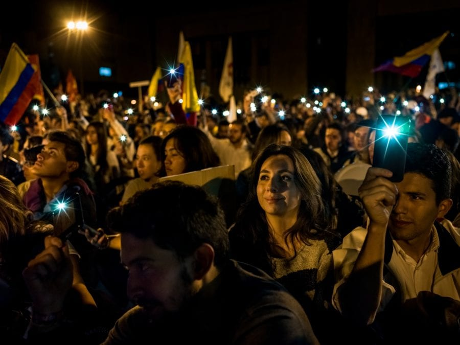 Fakkeltog for fred i Colombia hovedbilde
