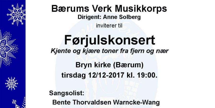 Førjulskonsert med Bærums Verk Musikkorps og Sangsolist hovedbilde