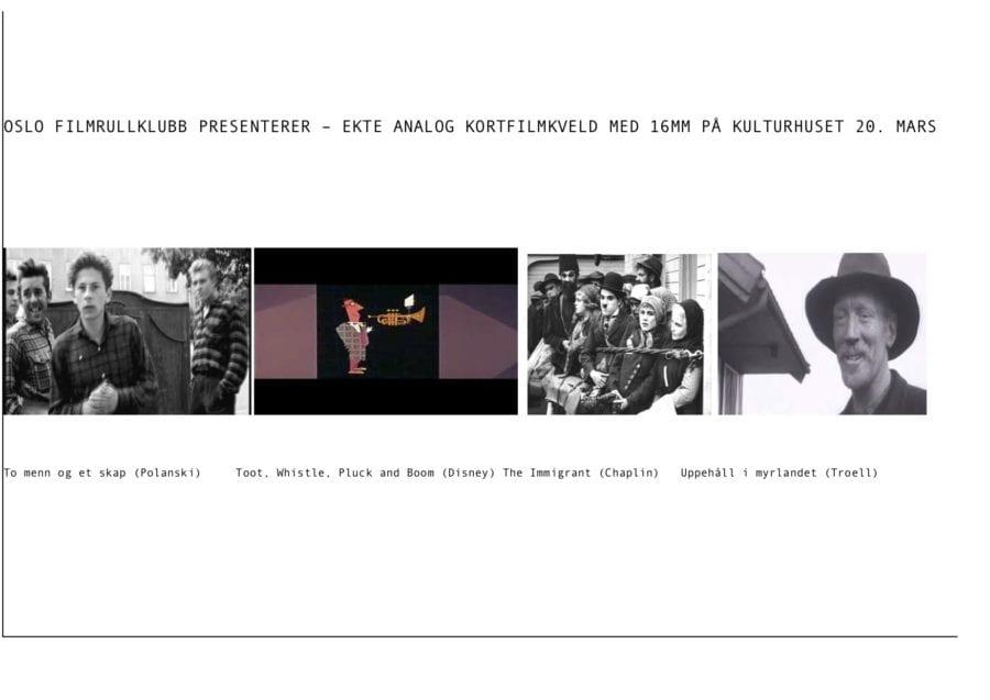 Eventbilde: Ekte analog kortfilmkveld med 16mm på Kulturhuset