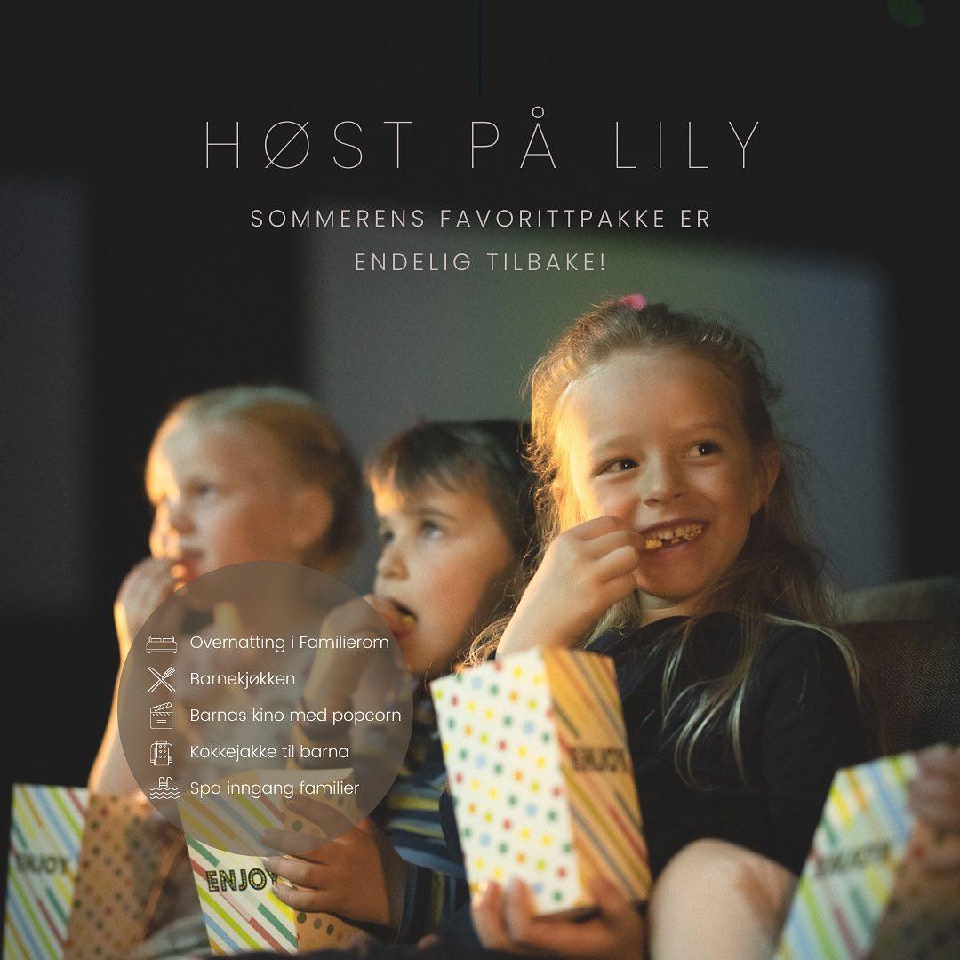 Bilde av barn som spiser popcorn på Lily Country Club under høstferie 2021